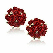 YouBella Jewellery Crystal Rose Shape Floral Stud Earrings for Girls and... - $11.37