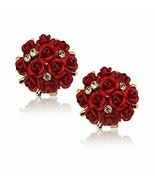 YouBella Jewellery Crystal Rose Shape Floral Stud Earrings for Girls and Women - £8.22 GBP