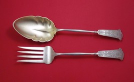 Arabesque by Wendt Sterling Silver Salad Serving Set 2pc GW Frosted w/Crown Mono - $863.55