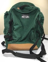 VTG JanSport Backpack Leather Bottom Green Made USA Large Camp Sport Bag Duffle - $89.99
