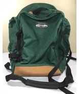 VTG JanSport Backpack Leather Bottom Green Made USA Large Camp Sport Bag... - $89.99