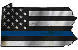 Thin Blue Line Police State of  Pennsylvania Laser CutOut Metal Sign 17W... - $25.74