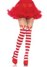 Leg Avenue Rudolph Reindeer Pantyhose Print w/ Sheer Thigh High /One Size  - $16.82