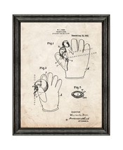 Baseball Fielder's Glove Patent Print Old Look with Black Wood Frame - $24.95+
