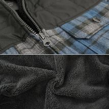 Men's Heavyweight Flannel Zip Up Fleece Lined Plaid Sherpa Hoodie Jacket image 15