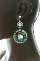 """3"""" Long Statement Casual Chic Filigree Clip On Earrings Pastel Shades Rhinestone - $14.25"""