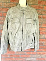 Calvin Klein Jacket Size Small Faux Leather Light Gray Full Zip Pockets ... - $9.80