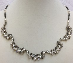 Necklace Signed Firefly Silver Leaf Iridescent Rhinestone Faux Pearl Vintage - $59.35