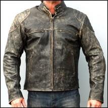 Mens Motorcycle Distressed Hooligan Leather Jacket Bikers Casual Fashion Vintage - $105.99