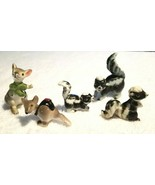 Vintage Bone China Miniature Skunk Family Figurines And Two Mice Japan - $27.00