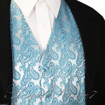 Turquoise Paisley Tuxedo Suit Dress Vest Waistcoat Formal Party Prom Wed... - $18.79+