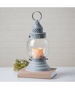 Hurricane tin Candle lantern in weathered zinc finish - $62.00