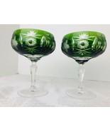 "AJKA Emerald Green Set of 2 CUT TO CLEAR 5.25"" Crystal Stems Liquors Gla... - $47.03"