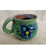 Tea coffee cup Earthworks Barbados Pottery Blue Daisies Studio Hand made... - $14.25