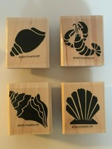 Stampin Up Sea Shell Mounted Stamp Set of 4 Beach Vacation Craft Lobster... - $11.70