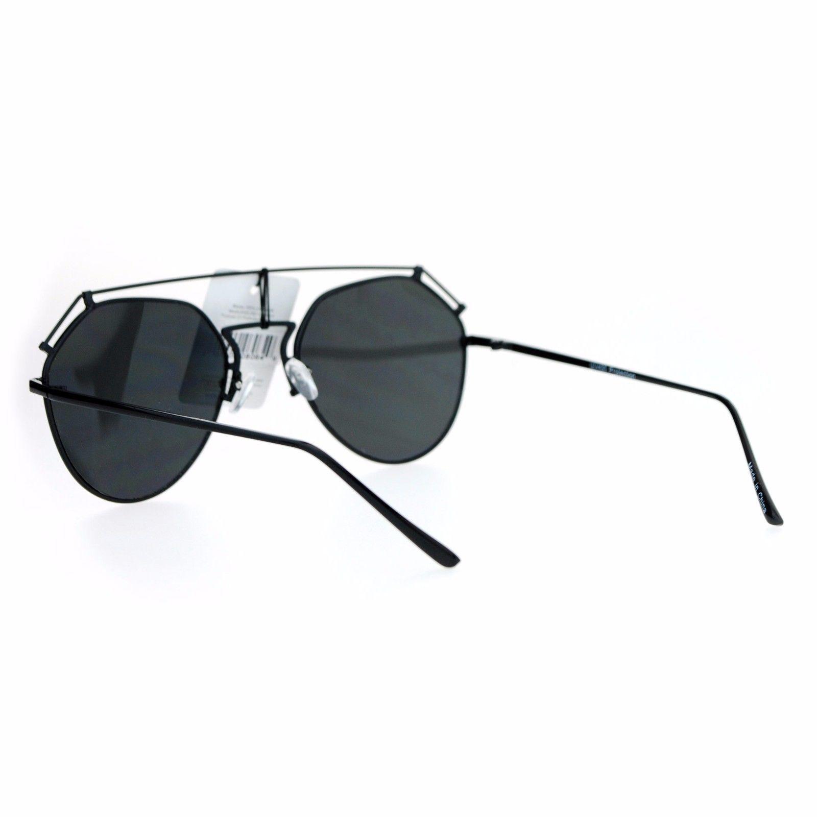 Womens Retro Aviator Sunglasses Flat Wire Top Metal Frame Aviators
