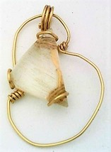 Rutilated Quartz Gold Wire Wrap Pendant 41 - $41.00