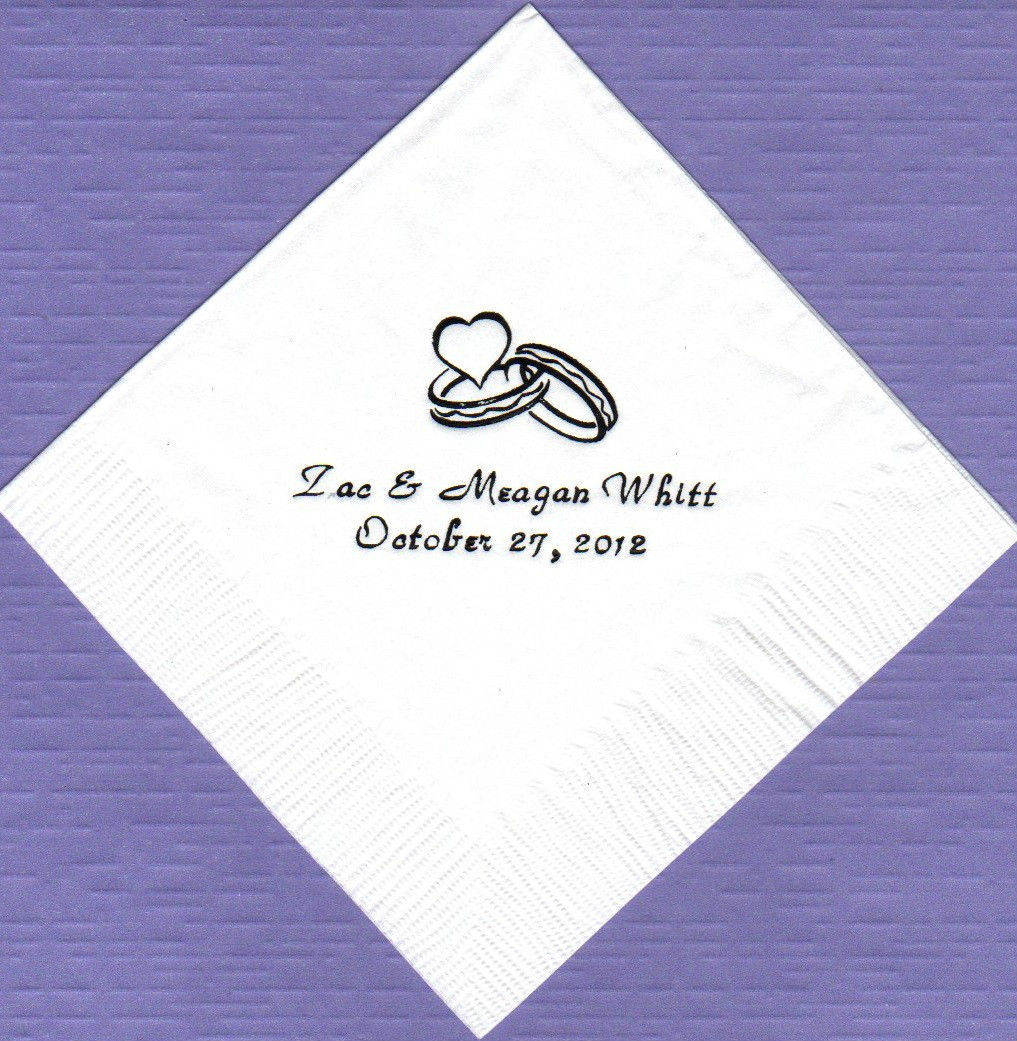 WEDDING RINGS LOGO 50 Personalized printed cocktail beverage napkins