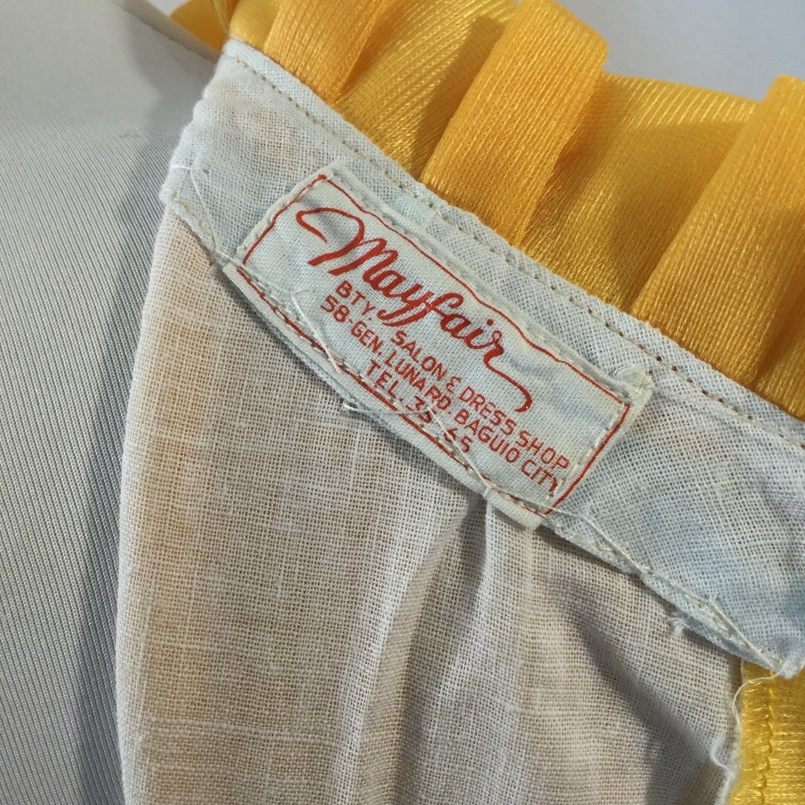 Vtg Groovy Mod Maxi Dress Autumn Fall Yellow Brown Black Medium Metal Zipper