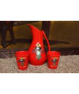 Vintage Mid Century 50's Handmade Pitcher 2 Cups Southwestern Ethnic Azt... - $142.49