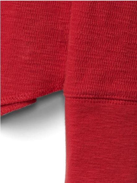 Gap Kids Boys T-shirt Tee 6 7 8 Red Waffle Knit Crew Neck Long Sleeve Cotton New