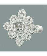1.42 CT Diamant 14K or Blanc Finition Fleur Semi Mont Réglage Fiançaille... - $83.78