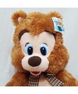 "Brown Teddy Bear Plush Stuffed Animal 22"" Classic Toy Co Plaid Bow - $15.89"