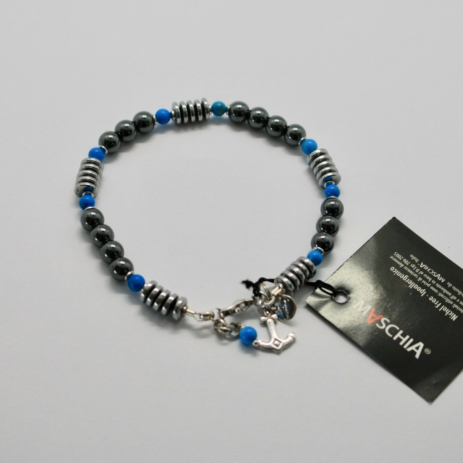 Bracelet en Argent 925 avec Turquoise Ed Hématite BLE-2 Fabriqué en Italie By image 3