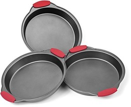 Elite Bakeware 3 Piece NonStick Cake Pans Set with Silicone Handles - Ea... - $25.67