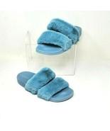 Bamboo Blue Double Strap Faux Fur Open Toe Contour Slide Sandal Shoes Si... - $21.67