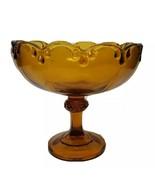 Indiana Glass Pedestal Vintage Teardrop Amber Color Compote Fruit Bowl - $17.09