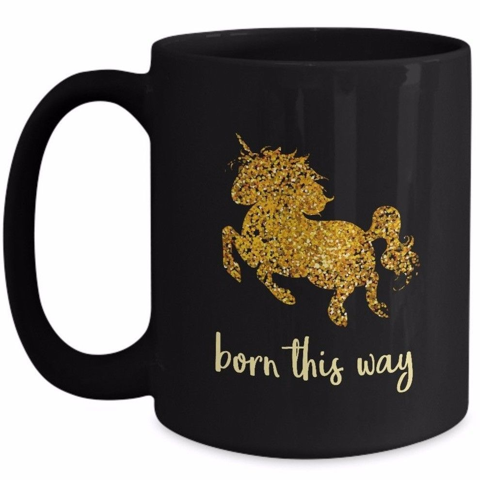 Cute Unicorn Coffee Mug Gift - Born This Way - Gold Baby Unicorn Daughter Sister