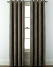 (1) JCPenney JCP Liz Claiborne Quinn Lattice TAUPE GRAY Grommet Curtain 50 x 95 - $45.95