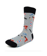 Urban-Peacock Men's Novelty Fun Crew Socks - Barber Shop - Grey - 1 Pair - $9.95