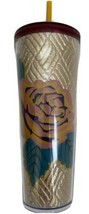 Starbucks Venti 20 Oz Metallic Gold Quilted Fabric Rose Tumbler Cold Cup... - $38.61
