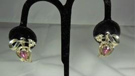 Gold Tone & Purple Rhinestone Tulip Earrings - $7.92