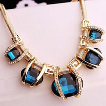 USA Fashion Oval Blue Bib Necklace Choker Snake Chain Statement Crystal ... - $15.83