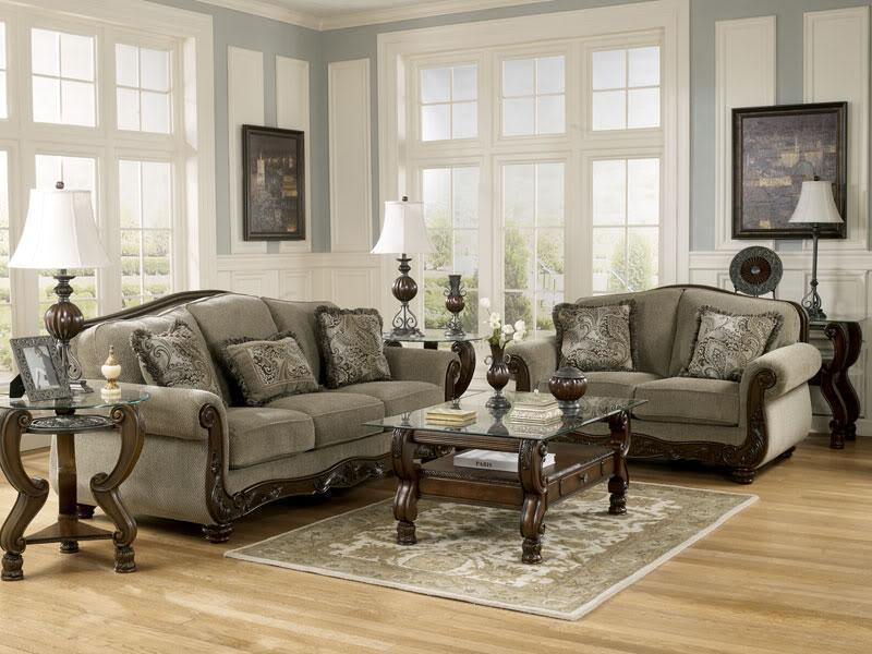 NORWICH - Traditional Wood Trim & Fabric Sofa Couch & Loveseat Set Living Room