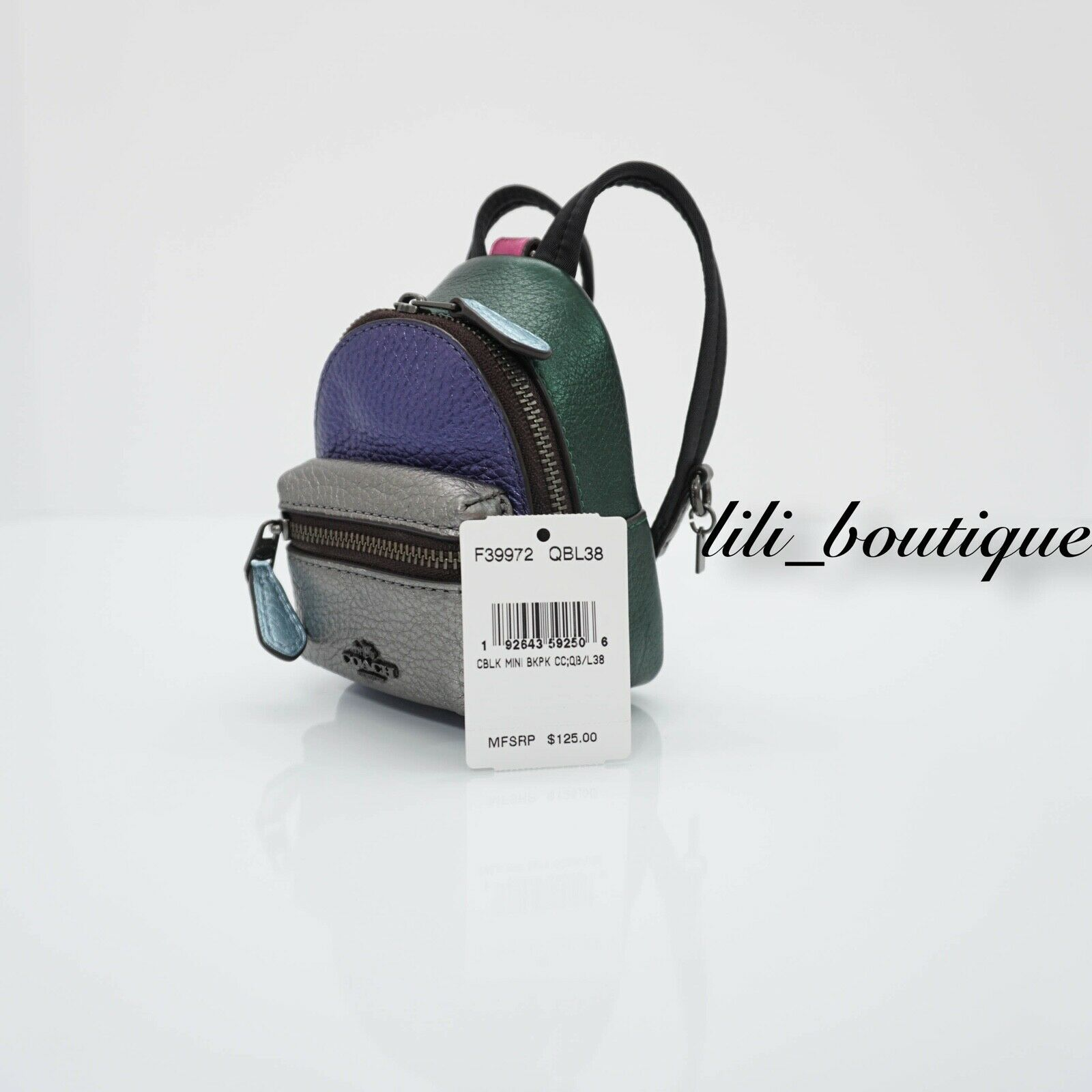 NWT Coach F39972 Metallic Colorblock Mini Backpack Coin Bag Charm Keyring $125 image 7