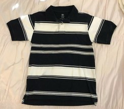 bb94629e Boy's Faded Glory Navy Blue White Stripe Short Sleeve Polo Shirt Excellent!  - $2.99