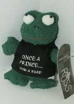 Russ Berrie Plush Home buddies Once a Prince Now toad shirt beanbag terr... - $17.81