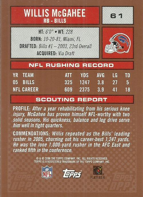2006 Topps Draft Picks and Prospects #61 Willis McGahee
