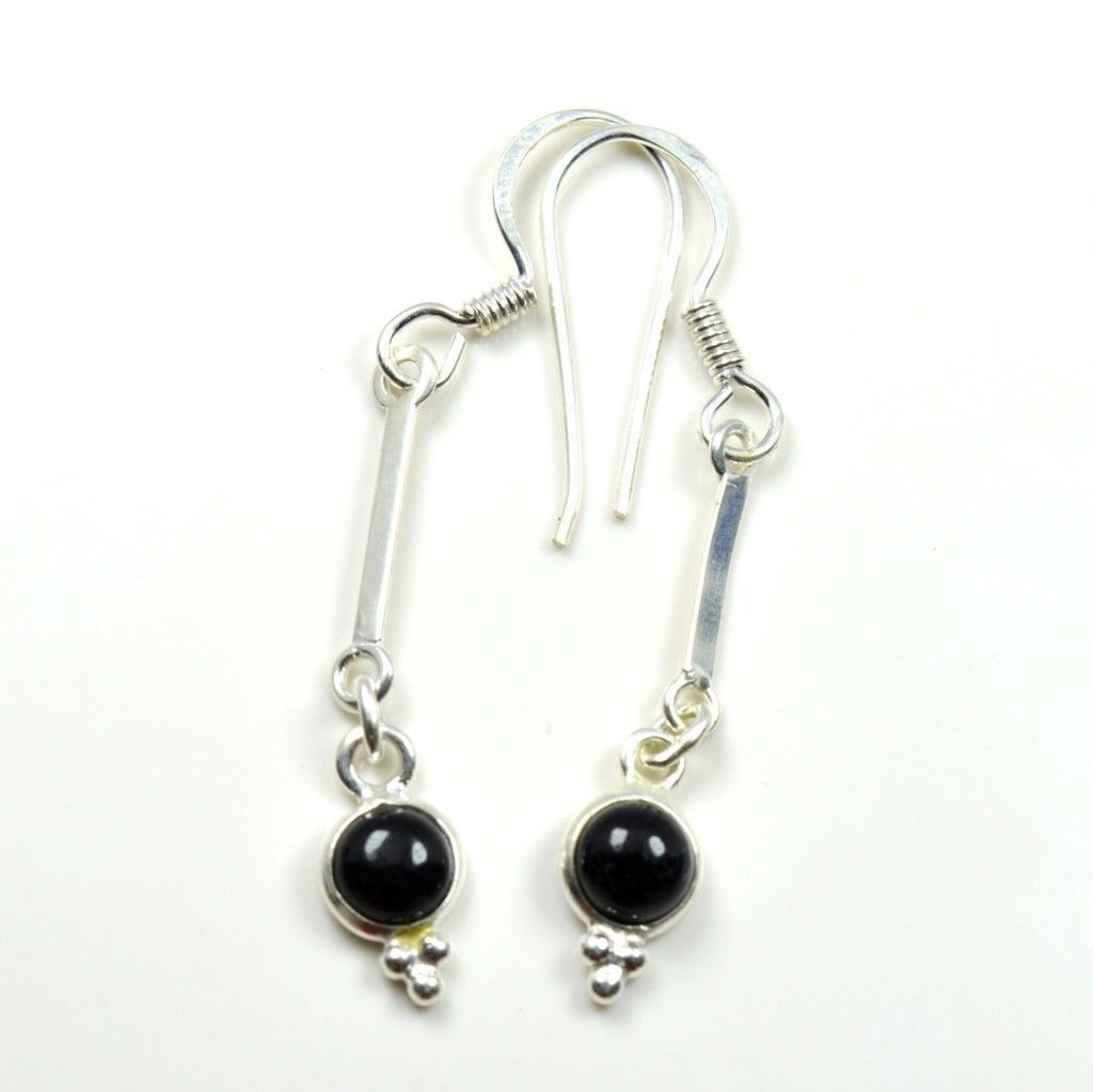 Genuine Natural Black Onyx Round Shape Sterling Silver Earring  UEFO2-222