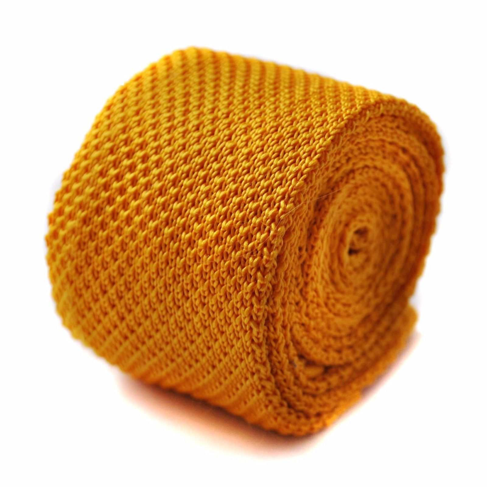 Knitted Plain Yellow Gold Mens Tie by Frederick Thomas FT275