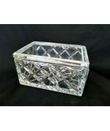 Irena Poland Cut Crystal Dresser Box Large Rectangular Powder Jar Vintag... - $71.20