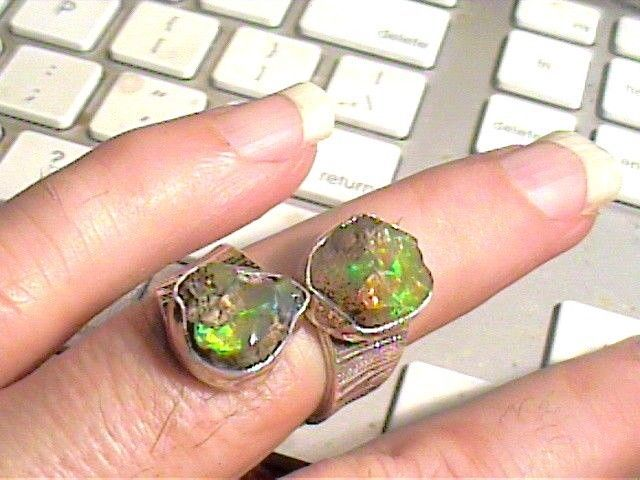 AUSTRALIAN Silver RING 8 SOLID ROUGH MINED OPAL ESTATE NATURAL STERLING 925 DUO