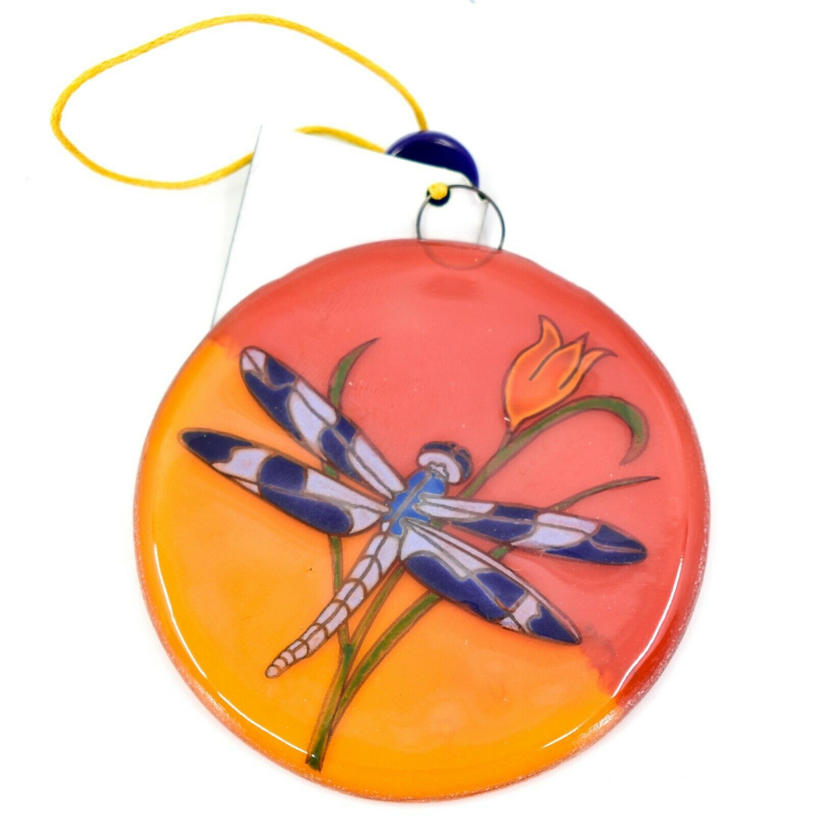Dragonfly Orange Sunset Fused Art Glass Ornament Handmade in Ecuador