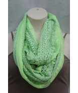 Collection Eighteen Infinity Loop Scarf Shock Green Chiffon Lace Cowl Sc... - $19.71