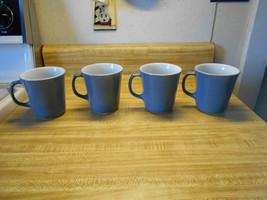 vintage pyrex corning mugs blue and white - $14.20