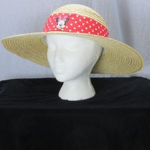 Disneyland Resort Straw Sun Hat Embroidered Minnie Mouse Ribbon Red Polka Dot - $20.47